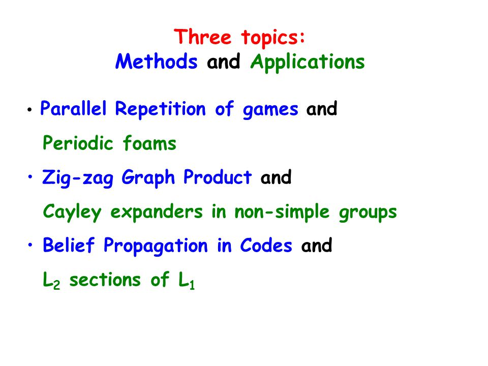 Three topics: Methods and Applications Parallel Repetition of games and Periodic foams Zig-zag Graph Product and Cayley expanders in non-simple groups