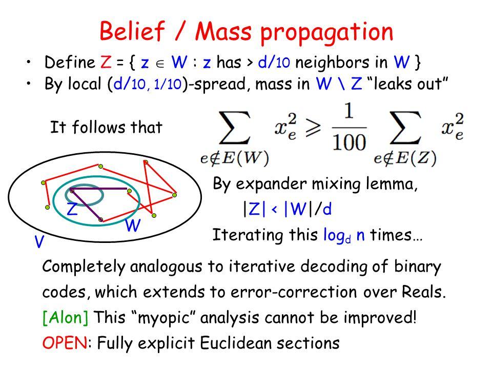 """Belief / Mass propagation Define Z = { z  W : z has > d/ 10 neighbors in W } By local (d/ 10, 1/10 )-spread, mass in W \ Z """"leaks out"""" By expander mi"""