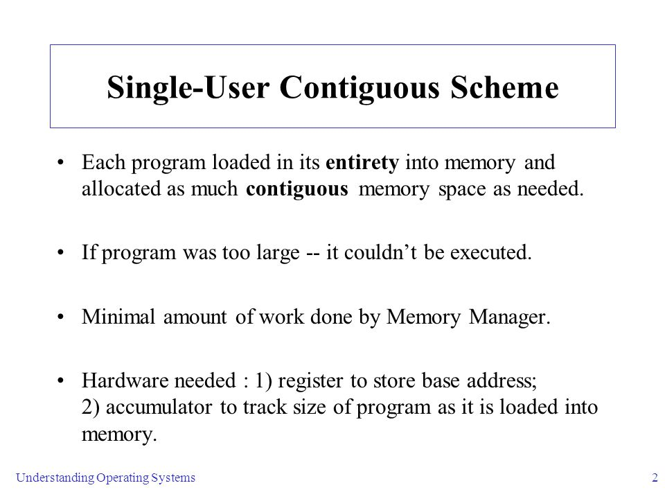 Understanding Operating Systems2 Single-User Contiguous Scheme Each program loaded in its entirety into memory and allocated as much contiguous memory space as needed.