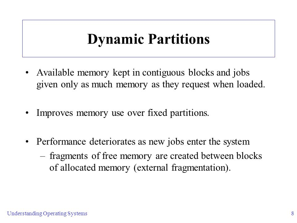 Understanding Operating Systems8 Dynamic Partitions Available memory kept in contiguous blocks and jobs given only as much memory as they request when loaded.