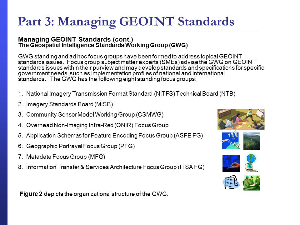 Managing GEOINT Standards (cont.) The Geospatial Intelligence Standards Working Group (GWG) GWG standing and ad hoc focus groups have been formed to address topical GEOINT standards issues.