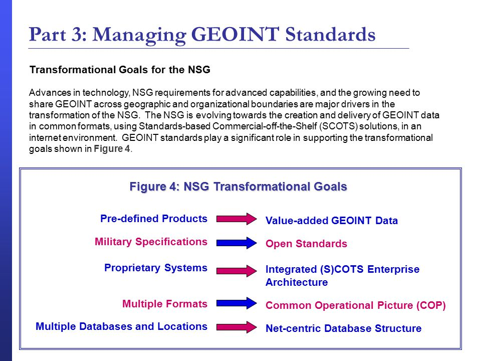 Transformational Goals for the NSG Advances in technology, NSG requirements for advanced capabilities, and the growing need to share GEOINT across geographic and organizational boundaries are major drivers in the transformation of the NSG.