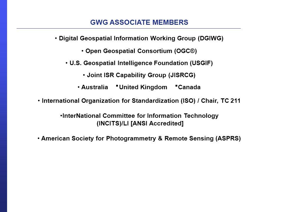 GWG ASSOCIATE MEMBERS Digital Geospatial Information Working Group (DGIWG) Open Geospatial Consortium (OGC®) U.S.