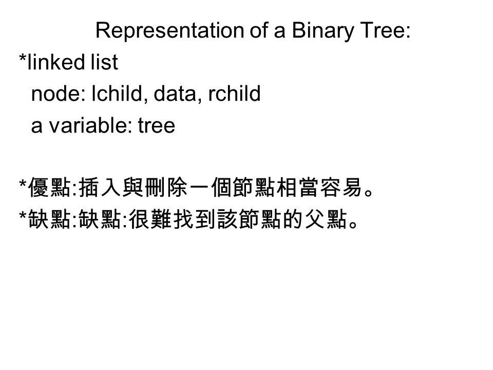 Representation of a Binary Tree: *linked list node: lchild, data, rchild a variable: tree * 優點 : 插入與刪除一個節點相當容易。 * 缺點 : 缺點 : 很難找到該節點的父點。