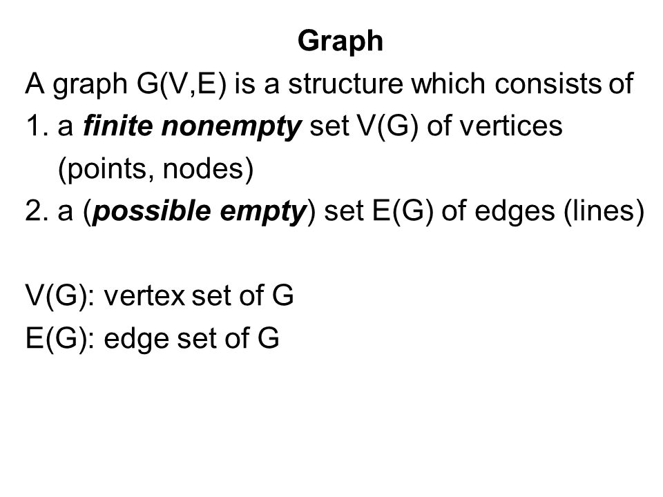 Graph A graph G(V,E) is a structure which consists of 1.