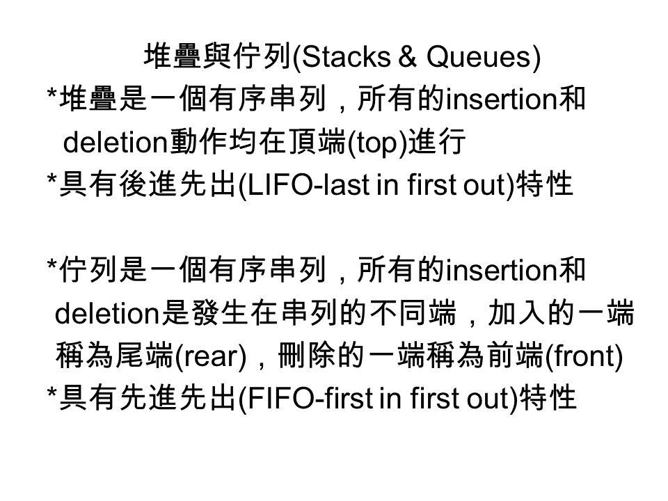 堆疊與佇列 (Stacks & Queues) * 堆疊是一個有序串列,所有的 insertion 和 deletion 動作均在頂端 (top) 進行 * 具有後進先出 (LIFO-last in first out) 特性 * 佇列是一個有序串列,所有的 insertion 和 deletion