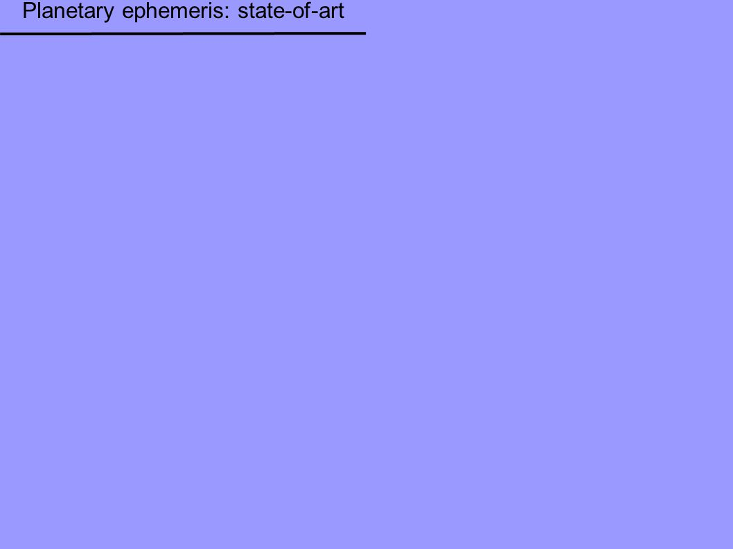 Planetary ephemeris: state-of-art