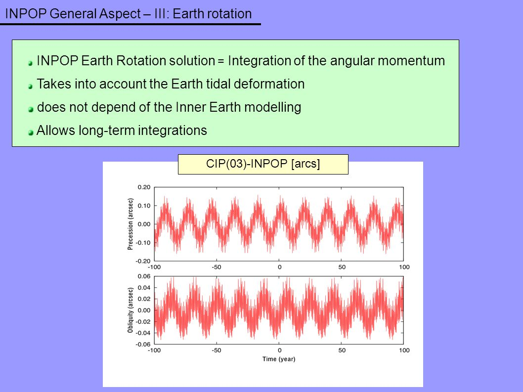 INPOP General Aspect – III: Earth rotation CIP(03)-INPOP [arcs] INPOP Earth Rotation solution = Integration of the angular momentum Takes into account