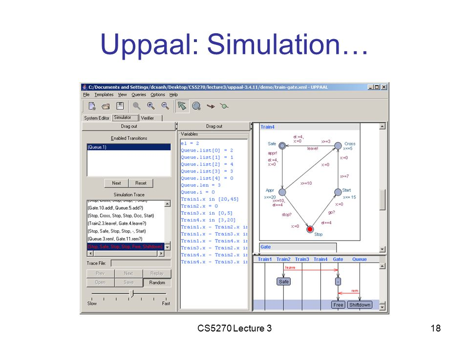CS5270 Lecture 318 Uppaal: Simulation…