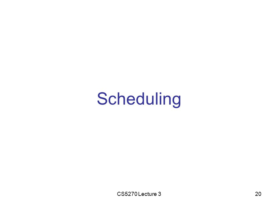 CS5270 Lecture 320 Scheduling
