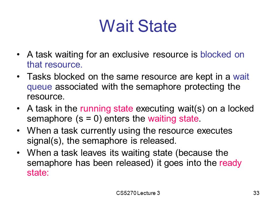 CS5270 Lecture 333 Wait State A task waiting for an exclusive resource is blocked on that resource.