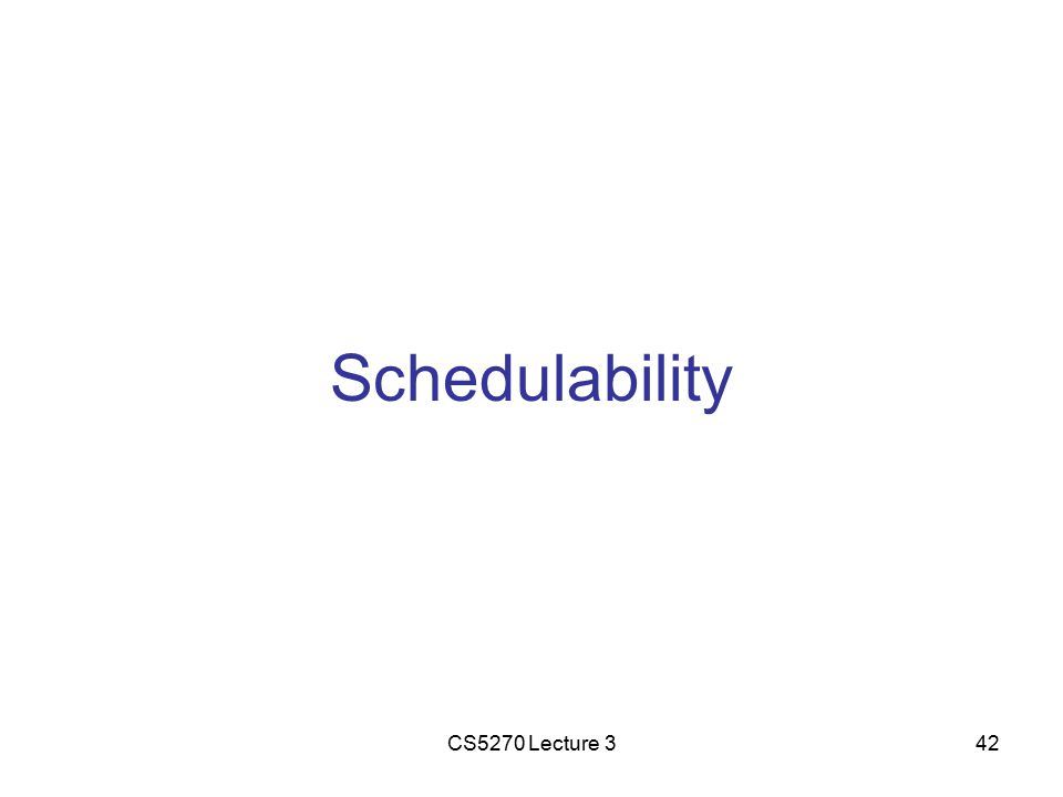 CS5270 Lecture 342 Schedulability