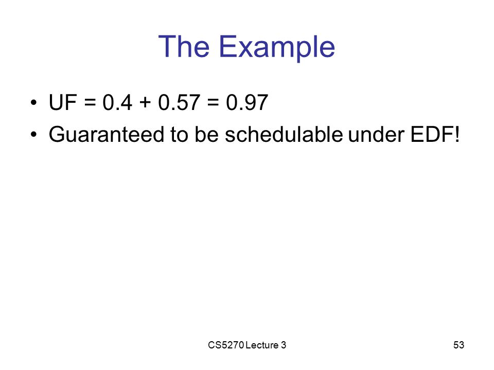 CS5270 Lecture 353 The Example UF = 0.4 + 0.57 = 0.97 Guaranteed to be schedulable under EDF!