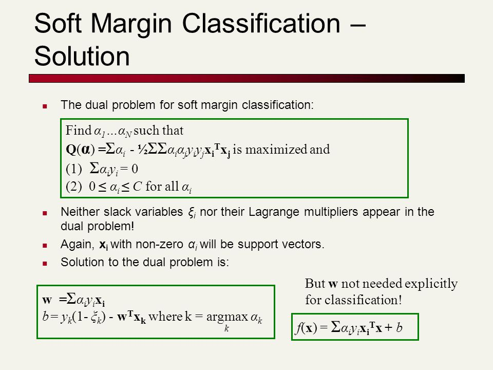 Soft Margin Classification – Solution The dual problem for soft margin classification: Neither slack variables ξ i nor their Lagrange multipliers appe