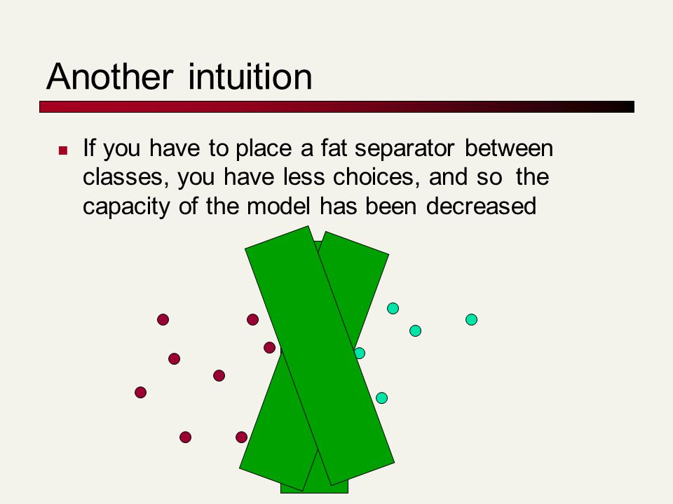 Another intuition If you have to place a fat separator between classes, you have less choices, and so the capacity of the model has been decreased