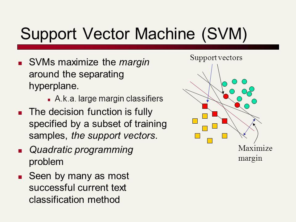 Support Vector Machine (SVM) Support vectors Maximize margin SVMs maximize the margin around the separating hyperplane. A.k.a. large margin classifier