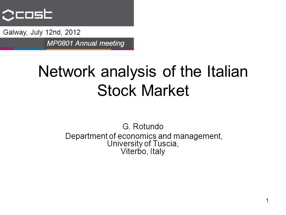 1 Network analysis of the Italian Stock Market G.