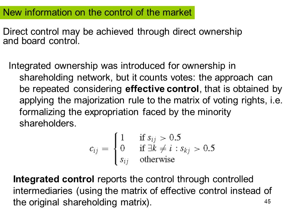 45 Integrated ownership was introduced for ownership in shareholding network, but it counts votes: the approach can be repeated considering effective