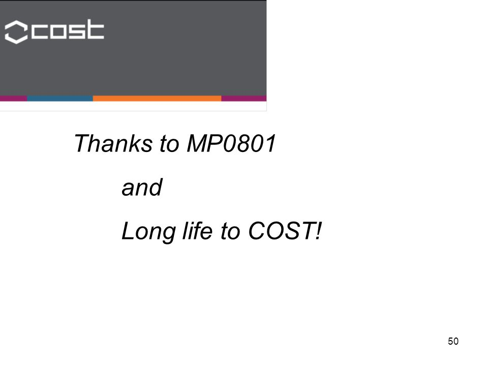 50 Thanks to MP0801 and Long life to COST!