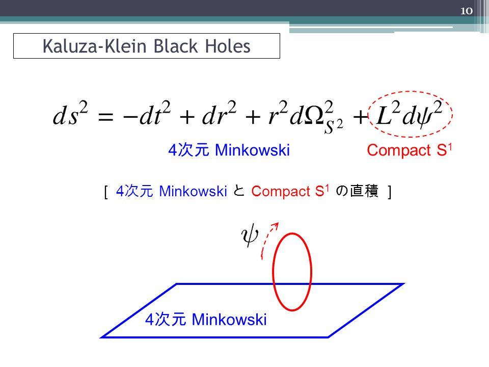 4 次元 Minkowski Compact S 1 4 次元 Minkowski [ 4 次元 Minkowski と Compact S 1 の直積 ] 10