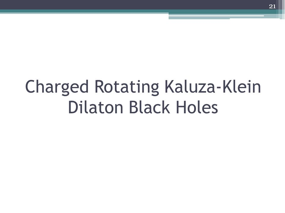Charged Rotating Kaluza-Klein Dilaton Black Holes 21
