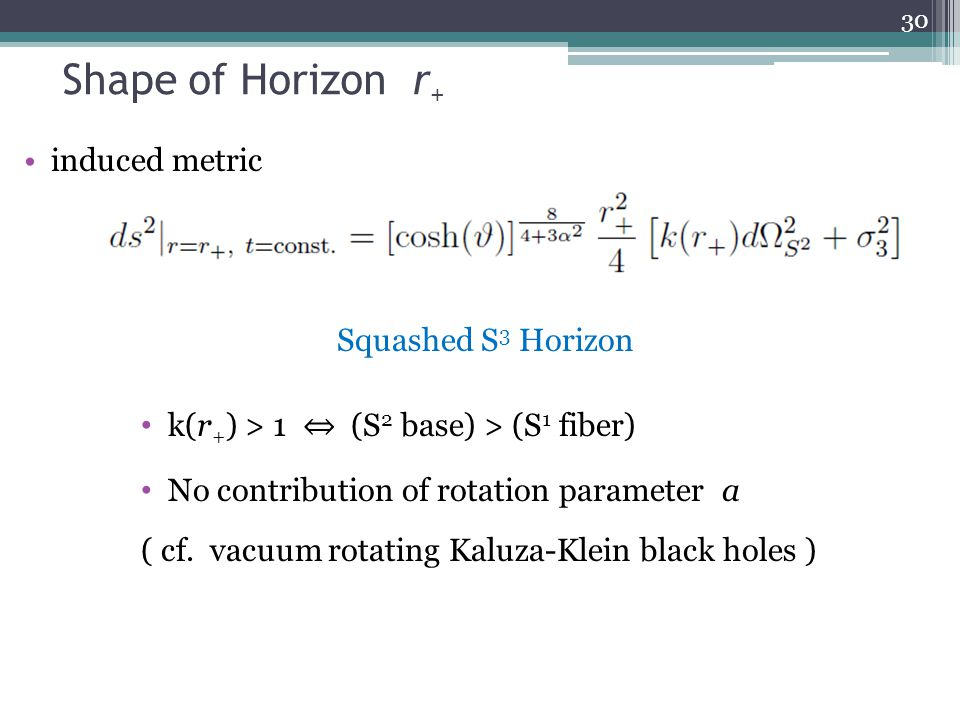 Shape of Horizon r + induced metric 30 Squashed S 3 Horizon k(r + ) > 1 ⇔ (S 2 base) > (S 1 fiber) No contribution of rotation parameter a ( cf.