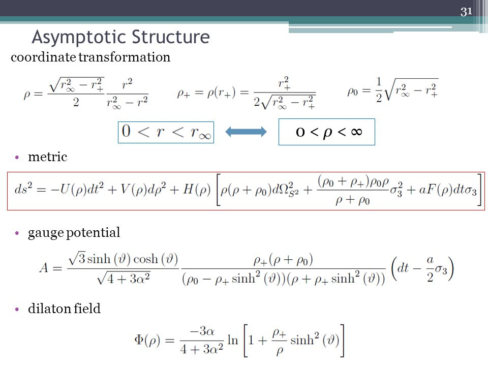 Asymptotic Structure metric gauge potential dilaton field coordinate transformation 31 0 < ρ < ∞