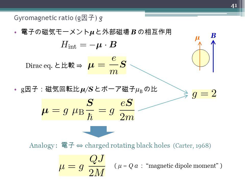 Gyromagnetic ratio (g 因子 ) g 電子の磁気モーメント μ と外部磁場 B の相互作用 41 Dirac eq. と比較 ⇒ g 因子:磁気回転比 μ/S とボーア磁子 μ B の比 μ B Analogy : 電子 ⇔ charged rotating black hole