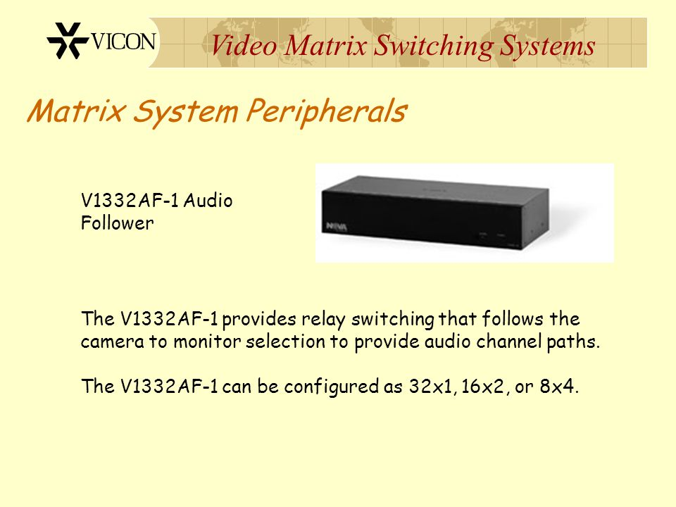 Video Matrix Switching Systems Matrix System Peripherals Alarm Point #1 Alarm Point #64 V1300X-IA-EX Rear Panel In from CPU Out to next XIA V1300X-IAs