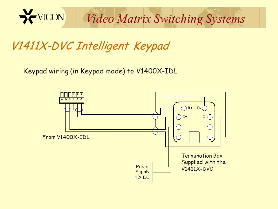 Video Matrix Switching Systems V1411X-DVC Intelligent Keypad This mode permits operation and control of a Vicon Matrix Switching System To select this