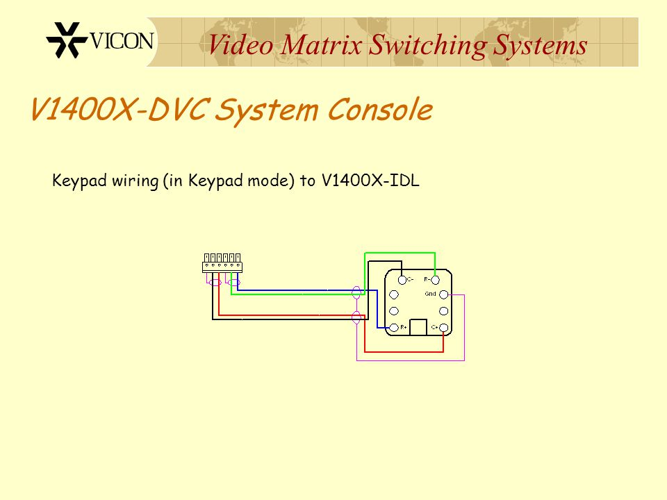 Video Matrix Switching Systems V1400X-DVC System Console Keypad wiring (in Standalone mode) to Surveyor VFT