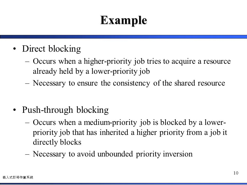 嵌入式即時作業系統 10 Example Direct blocking –Occurs when a higher-priority job tries to acquire a resource already held by a lower-priority job –Necessary to