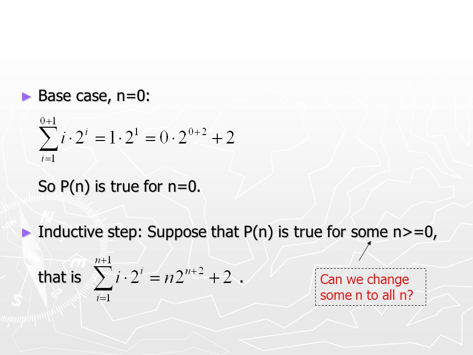 ► Base case, n=0: So P(n) is true for n=0.