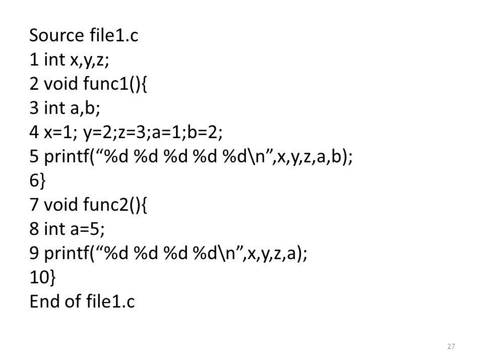 Source file1.c 1 int x,y,z; 2 void func1(){ 3 int a,b; 4 x=1; y=2;z=3;a=1;b=2; 5 printf( %d %d %d %d %d\n ,x,y,z,a,b); 6} 7 void func2(){ 8 int a=5; 9 printf( %d %d %d %d\n ,x,y,z,a); 10} End of file1.c 27