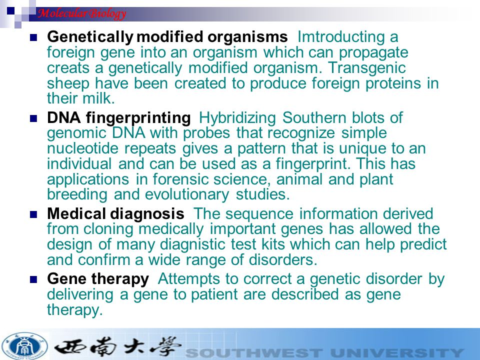 Genetically modified organisms Imtroducting a foreign gene into an organism which can propagate creats a genetically modified organism. Transgenic she