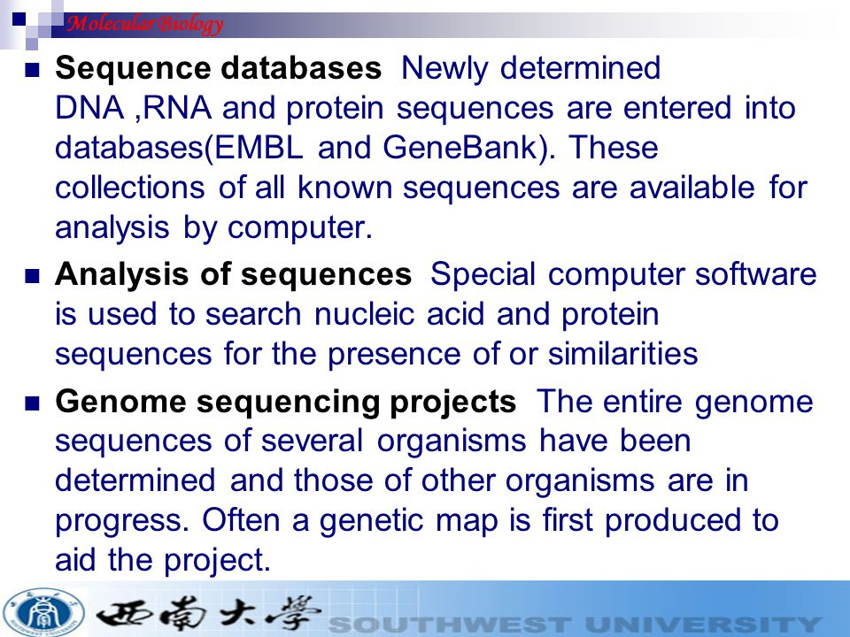 Sequence databases Newly determined DNA,RNA and protein sequences are entered into databases(EMBL and GeneBank). These collections of all known sequen