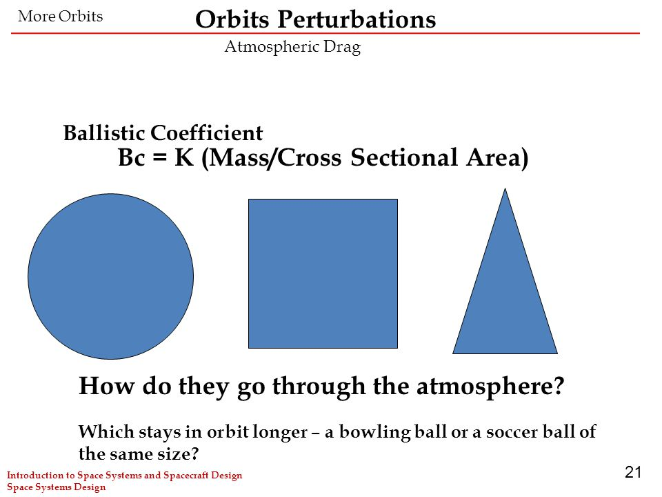 21 Ballistic Coefficient How do they go through the atmosphere? Which stays in orbit longer – a bowling ball or a soccer ball of the same size? Bc = K