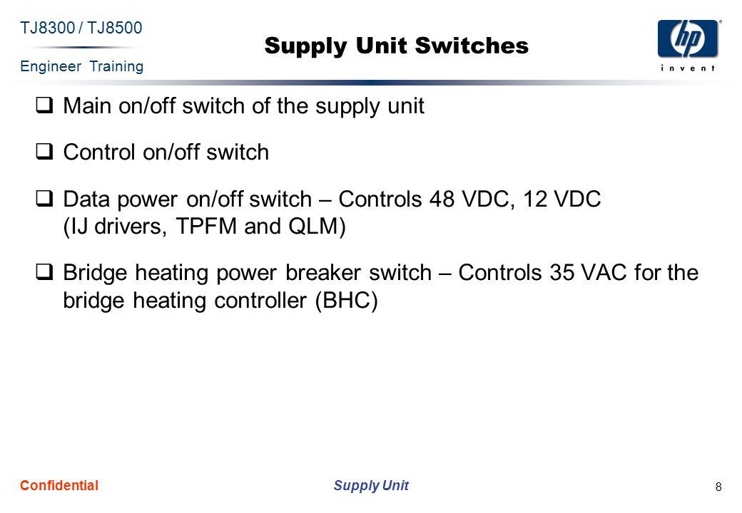Engineer Training Supply Unit TJ8300 / TJ8500 Confidential 19 Relays and Controls