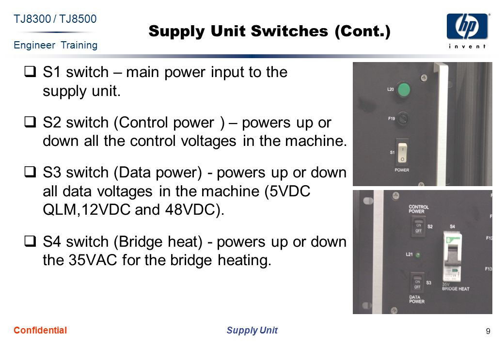 Engineer Training Supply Unit TJ8300 / TJ8500 Confidential 9 Supply Unit Switches (Cont.)  S1 switch – main power input to the supply unit.