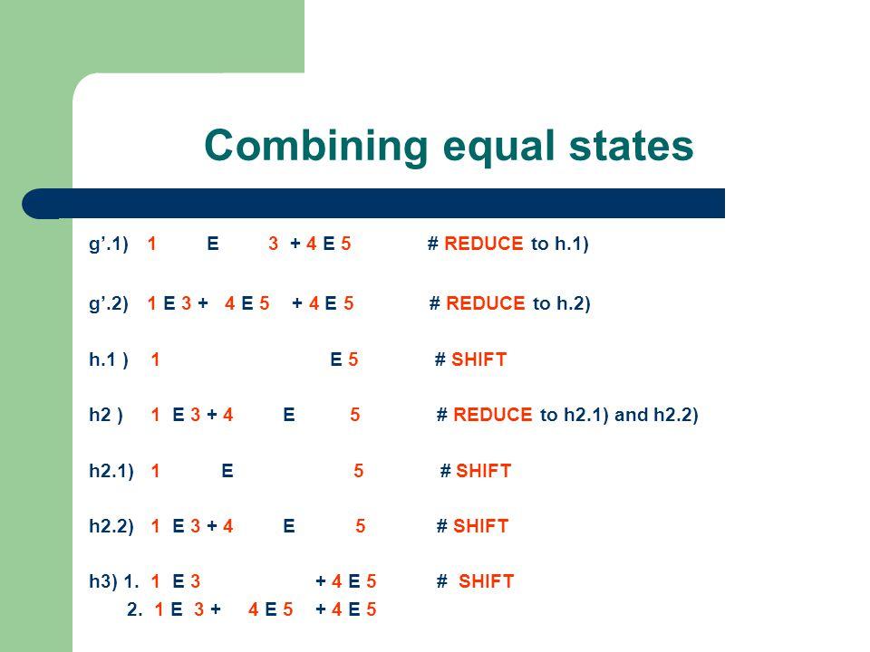 Combining equal states g'.1) 1 E 3 + 4 E 5 # REDUCE to h.1) g'.2) 1 E 3 + 4 E 5 + 4 E 5 # REDUCE to h.2) h.1 ) 1 E 5 # SHIFT h2 ) 1 E 3 + 4 E 5 # REDUCE to h2.1) and h2.2) h2.1) 1 E 5 # SHIFT h2.2) 1 E 3 + 4 E 5 # SHIFT h3) 1.