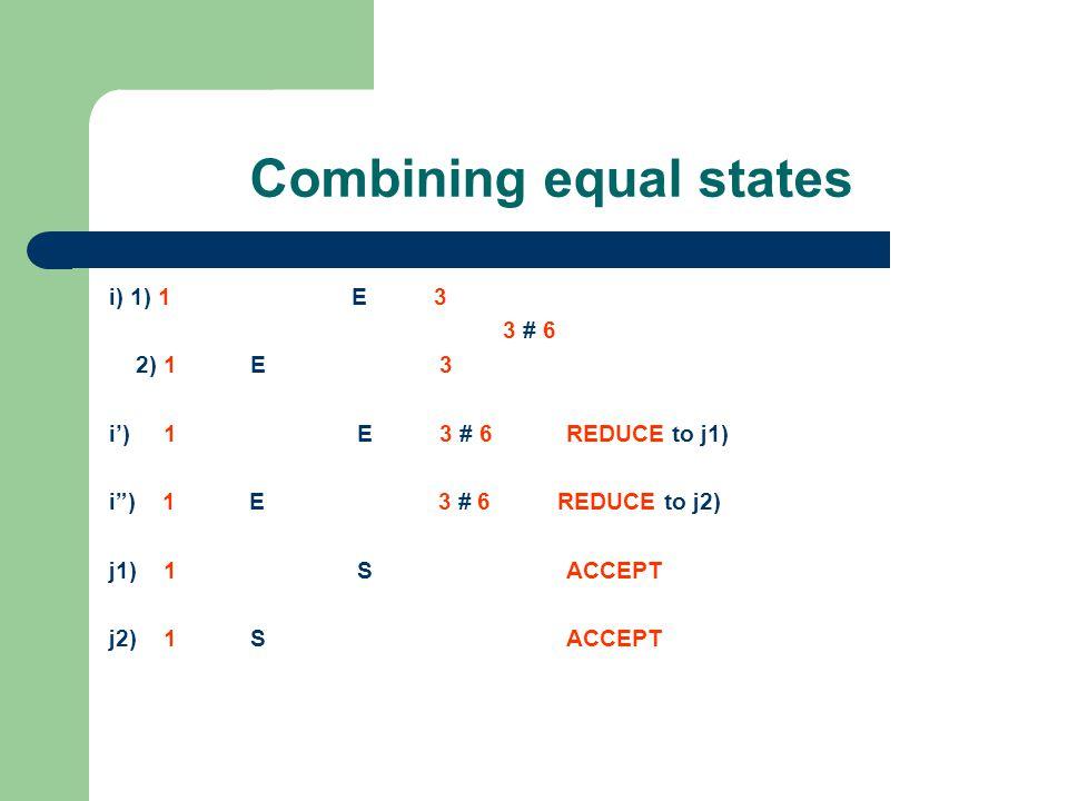 Combining equal states i) 1) 1 E 3 3 # 6 2) 1 E 3 i') 1 E 3 # 6 REDUCE to j1) i ) 1 E 3 # 6 REDUCE to j2) j1) 1 S ACCEPT j2) 1 S ACCEPT