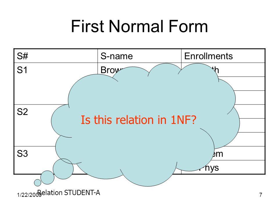 1/22/20098 First Normal Form S#S-nameEnrollments S1BrownC1 Math C2 Chem C3 Phys S2SmithC2 Chem C3 Phys C4 Math S3BrownC2 Chem C3 Phys NO!!.