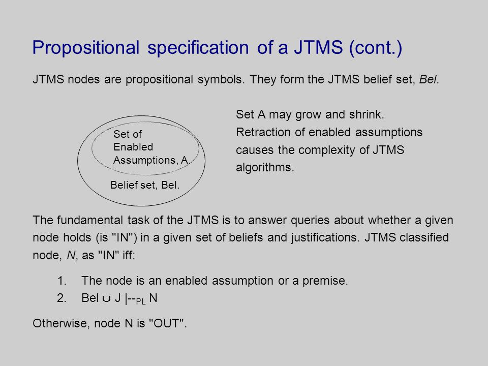 Propositional specification of a JTMS (cont.) JTMS nodes are propositional symbols.