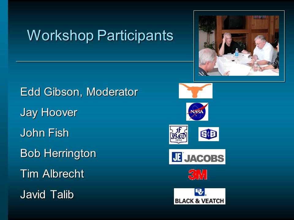 Workshop Participants Edd Gibson, Moderator Jay Hoover John Fish Bob Herrington Tim Albrecht Javid Talib