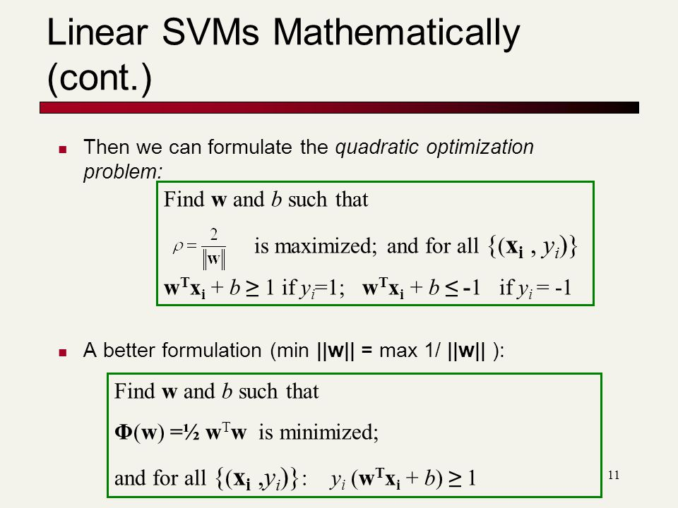 11 Linear SVMs Mathematically (cont.) Then we can formulate the quadratic optimization problem: A better formulation (min ||w|| = max 1/ ||w|| ): Find w and b such that is maximized; and for all { ( x i, y i )} w T x i + b ≥ 1 if y i =1; w T x i + b ≤ -1 if y i = -1 Find w and b such that Φ(w) =½ w T w is minimized; and for all { ( x i,y i )} : y i (w T x i + b) ≥ 1