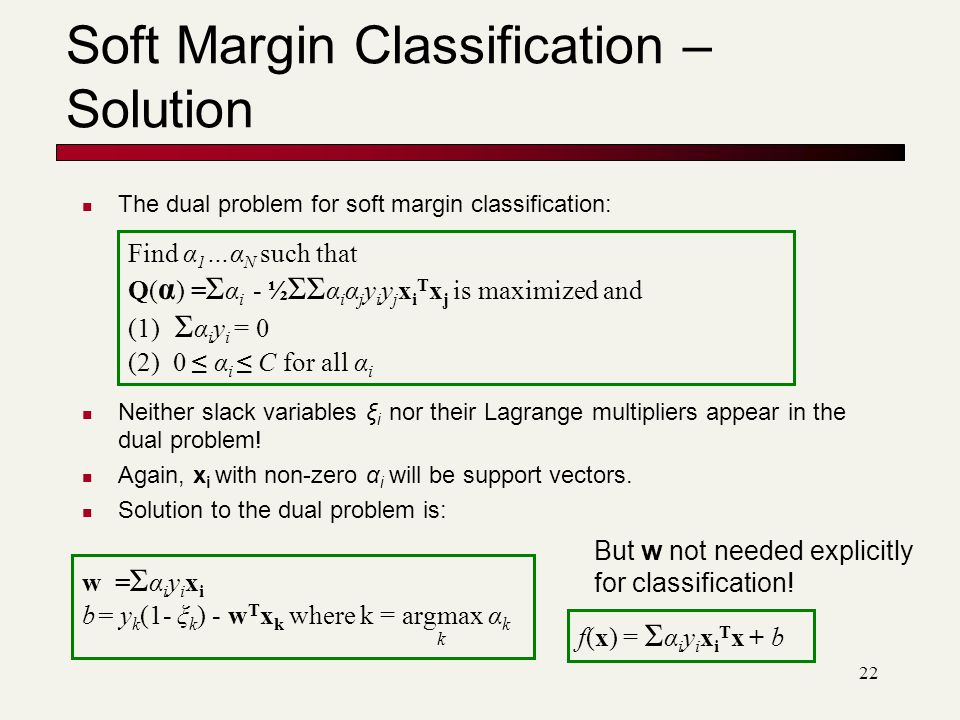 22 Soft Margin Classification – Solution The dual problem for soft margin classification: Neither slack variables ξ i nor their Lagrange multipliers appear in the dual problem.