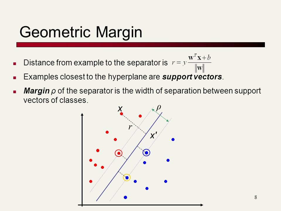 8 Geometric Margin Distance from example to the separator is Examples closest to the hyperplane are support vectors.