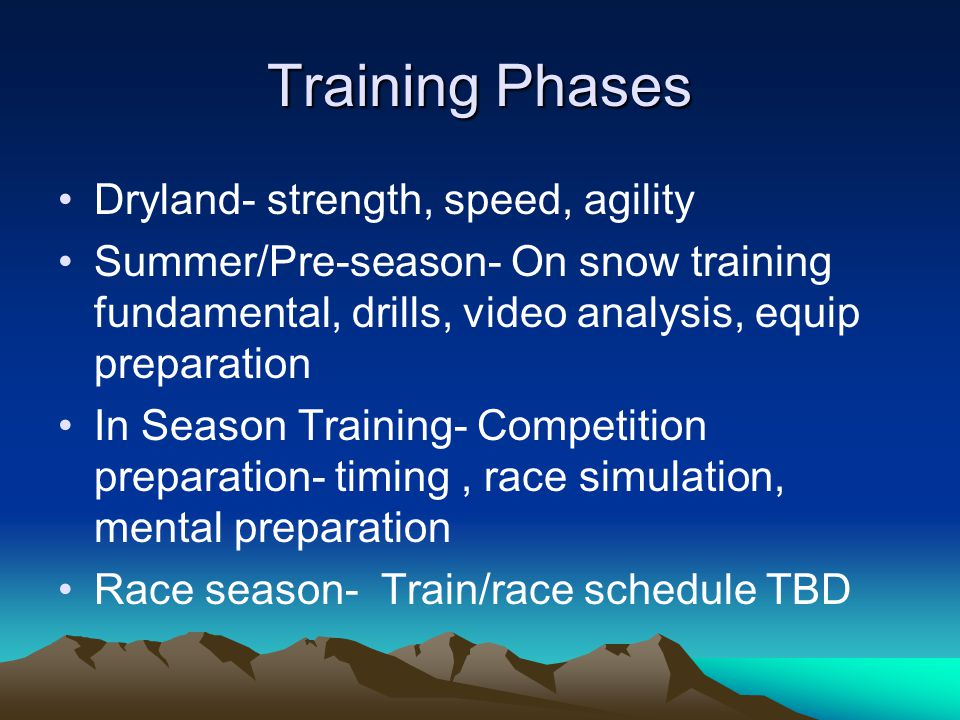 Training Phases Dryland- strength, speed, agility Summer/Pre-season- On snow training fundamental, drills, video analysis, equip preparation In Season