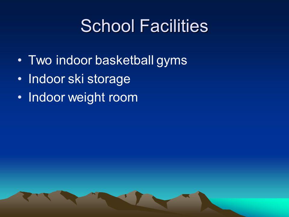 School Facilities Two indoor basketball gyms Indoor ski storage Indoor weight room