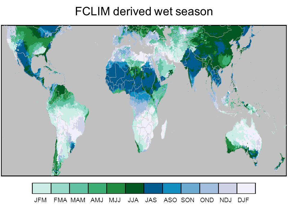 FCLIM derived wet season JFM FMA MAM AMJ MJJ JJA JAS ASO SON OND NDJ DJF